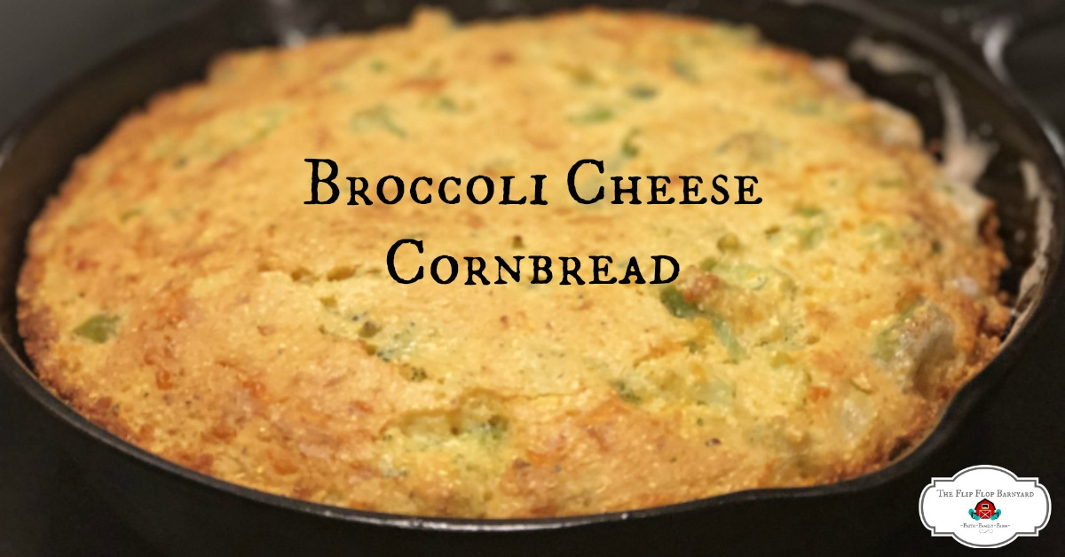 Cast Iron Broccoli Cheese Cornbread