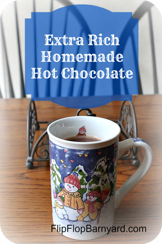 Extra Rich Homemade Hot Chocolate. From scratch, homemade, rich, delicious homemade hot chocolate.