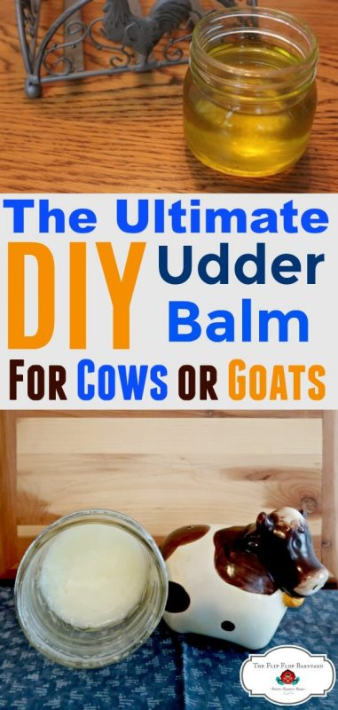 "a photo collage of homemade udder balm in jars with the words ""the ultimate diy udder balm for cows or goats"""