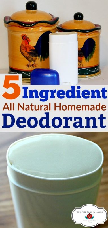 "a photo collage of homemade deodorant sticks and the words ""5 ingredient all natural homemade deodorant in the middle"""