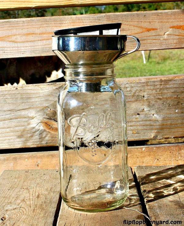 picture of a half gallon jar with funnel and a strainer
