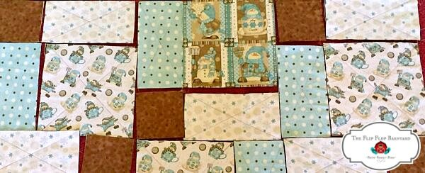 a photo showing how to assemble rag quilt blocks