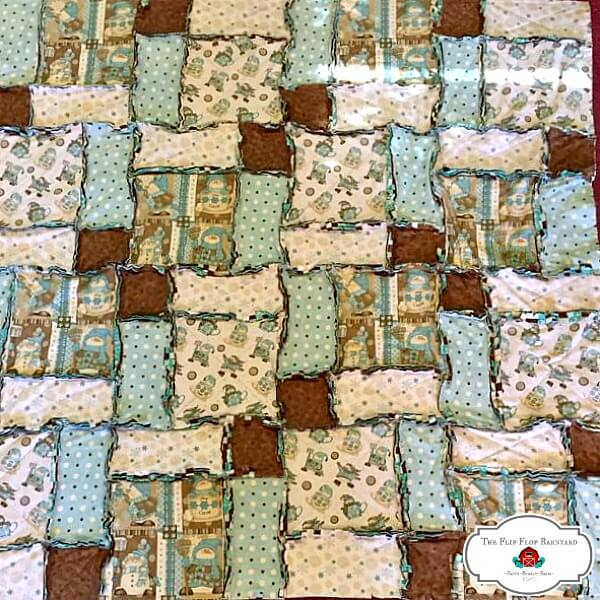 Completely assembles rag quilt with edges all snipped. Ready for ragging.