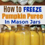 Jars of pureed pumpkin on a table