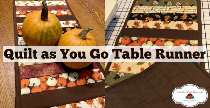 "A photo of a fall themed table runner with pumpkins sitting on it and the words ""Quilt as you go table runner"" above."