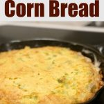 Broccoli Cheese Cornbread in a cast iron skillet